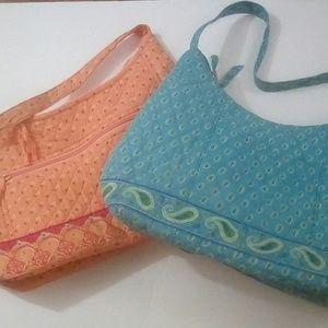 Handbags - TWO Quilted Zipper Top Purses - Blue & Orange